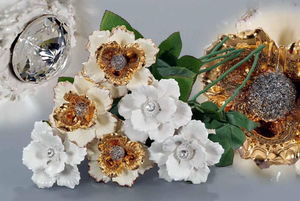 DV1811/CR | DV1811/S - Cream White Crystal Stem Flowers