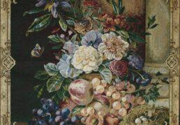 102 - Z031 78x65 38x39 - Composizione di fiori e frutta con nido